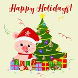Happy New Year and Merry Christmas greeting card. A cute pig wearing a Santa Claus hat and scarf is standing next to a tree and ho. Lding flags from 2019. The stock illustration
