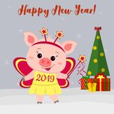 Happy New Year and Merry Christmas Greeting Card. Cute piglet in a fairy butterfly costume. Christmas tree, gifts and snowflakes. royalty free illustration