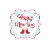 Happy New Year Merry Christmas Greeting Card Decoration Laber Web Icon Stock Images