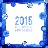 Happy New Year and Merry Christmas 2015 Greeting. Card design. Blue winter background with snowflakes. Xmas border.  Abstract design with snowflakes. Vector Royalty Free Stock Image