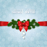 Happy New Year and Merry Christmas Greeting Card Design vector illustration