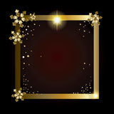 2019 Happy New Year luxury gold frame blank. 2019 Happy New Year and Merry Christmas greeting card luxury frame with Glitter, Gold snowflakes, sparkles, light Royalty Free Stock Photography