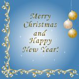 Happy New Year and Merry Christmas, greeting card with a gold pa stock illustration