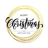 Happy New Year Merry Christmas greeting card golden glitter decoration. Gold greeting card ornament of circle and text calligraphy lettering. Festive Royalty Free Stock Photography
