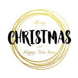 Happy New Year Merry Christmas greeting card golden glitter decoration. Gold greeting card ornament of circle and text calligraphy lettering. Festive Royalty Free Stock Photo
