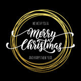 Happy New Year Merry Christmas greeting card golden glitter decoration. Gold greeting card ornament of circle and text calligraphy lettering. Festive vector illustration