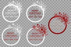 Happy New Year Merry Christmas greeting card golden glitter decoration. greeting card ornament of circle and text. Calligraphy lettering. Festive vector royalty free illustration