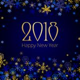 2018 Happy New Year and Merry Christmas greeting card. Template with silver and golden snowflakes on dark blue background. Seasonal holidays background for vector illustration
