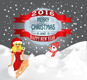 Happy New Year and Merry  Christmas. Merry Christmas greeting card Landscape with Snow Maiden and snowman. Vector Stock Photography