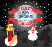 Happy New Year and Merry  Christmas. Merry Christmas greeting card Landscape with Snow Maiden and snowman. Vector Royalty Free Stock Images