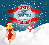 Happy New Year and Merry  Christmas. Merry Christmas greeting card Landscape with Snow Maiden and snowman. Vector Stock Image