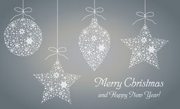 Happy New Year and Merry Christmas greeting card, poster, invitation, flyer. Vector illustration stock illustration