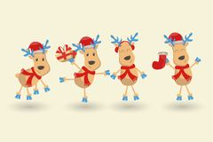 Happy New Year and Merry Christmas greeting card. Set of six reindeers in different costumes and poses, various accessories. vector illustration