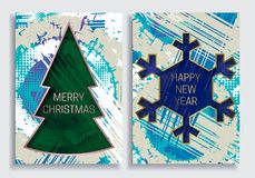 Happy New Year and Merry Christmas greeting card templates on grunge texture background with Christmas tree and snowflake frame Royalty Free Stock Images