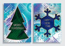 Happy New Year and Merry Christmas greeting card templates on grunge texture background with Christmas tree and snowflake frame Stock Photo