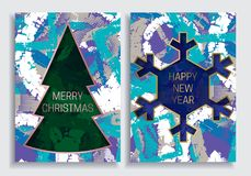 Happy New Year and Merry Christmas greeting card templates on grunge texture background with Christmas tree and snowflake frame Royalty Free Stock Photo