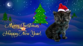 Happy New Year and Merry Christmas greeting card with text