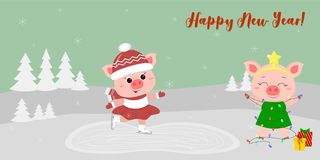 Happy New Year and Merry Christmas Greeting Card. Two cute pigs. One goes to the rink, the other in a Christmas tree stock illustration