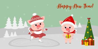 Happy New Year and Merry Christmas Greeting Card. Two cute pigs. One goes to the rink, the other in a hat and a scarf royalty free illustration