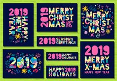 Happy New Year 2019, Merry Christmas greeting cards. Colorful hand drawn vector illustration. Happy New Year 2019, Merry Christmas greeting cards, banners stock illustration