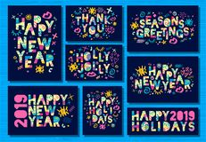 Happy New Year 2019, Merry Christmas greeting cards. Colorful hand drawn vector illustration. Happy New Year 2019, Merry Christmas greeting cards, banners vector illustration