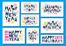 Happy New Year 2019, Merry Christmas greeting cards. Colorful hand drawn vector illustration. Happy New Year 2019, Merry Christmas greeting cards, banners royalty free illustration