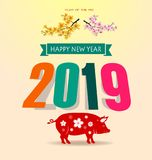 Happy new year 2019 and Merry Christmas vector illustration