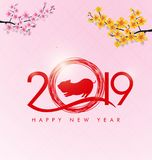 Happy new year 2019 and Merry Christmas royalty free illustration
