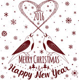 Happy New Year and Merry Christmas. Holiday card. Vector illustration stock illustration
