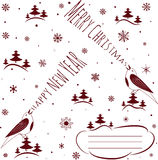 Happy New Year and Merry Christmas. Holiday card. Vector illustration royalty free illustration