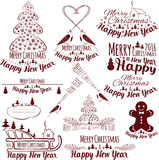 Happy New Year and Merry Christmas. Holiday card. Vector illustration vector illustration