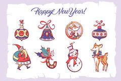 Happy new year and merry christmas holiday. Hand-drawn vector il. Lustration. Sticker, label, sign deer, snowman, toy for xmas tree on white background. Santa vector illustration