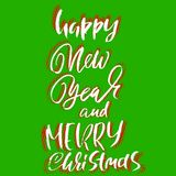 Happy New Year and Merry Christmas. Holiday modern dry brush ink lettering for greeting card. Halftone background. Vector illustration vector illustration