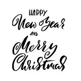 Happy New Year and Merry Christmas. Holiday modern dry brush ink lettering for greeting card. Vector illustration stock illustration