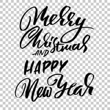 Happy New Year and Merry Christmas. Holiday modern dry brush ink lettering for greeting card. Vector illustration. Happy New Year and Merry Christmas. Holiday stock illustration