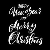 Happy New Year and Merry Christmas. Holiday modern dry brush ink lettering for greeting card. Vector illustration. Happy New Year and Merry Christmas. Holiday royalty free illustration