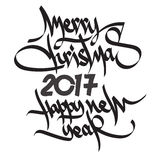 Happy 2017 New Year. Merry Christmas. Happy 2017 New Year. Holiday Christmas, New Year Vector Illustration With Lettering. Happy New Year and Merry Christmas Royalty Free Stock Image