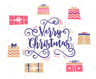 Happy New Year and merry christmas. Holiday Vector Illustration. Happy New Year and Merry Christmas. Lettering Composition with gifts. Holiday Vector royalty free illustration