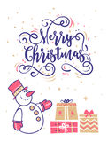 Happy New Year and merry christmas. Holiday Vector Illustration. Happy New Year and Merry Christmas. Lettering Composition with gifts and cute snowman cartoon Stock Image