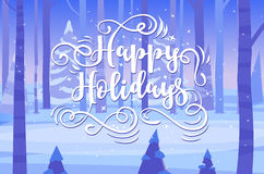Happy New Year and merry christmas. Holiday Vector Illustration. Happy New Year and Merry Christmas. Lettering Composition into night forest. Holiday Vector vector illustration