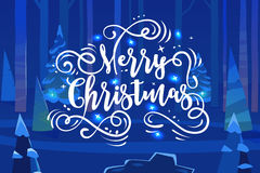 Happy New Year and merry christmas. Holiday Vector Illustration. Happy New Year and Merry Christmas. Lettering Composition into night forest. Holiday Vector royalty free illustration