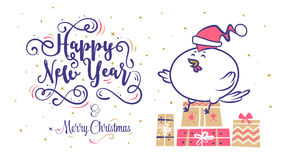 Happy New Year and merry christmas. Holiday Vector Illustration. Happy New Year and Merry Christmas 2017. Rooster sitting on gifts in a Santa Claus hat royalty free illustration