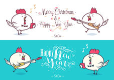Happy New Year and merry christmas. Holiday Vector Illustration. Happy New Year and Merry Christmas 2017. Two cock. One of them sings and the other plays bass Stock Image