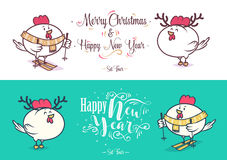 Happy New Year and merry christmas. Holiday Vector Illustration. Happy New Year and Merry Christmas 2017. Two cock. Rooster with antlers and Rooster on skis Royalty Free Stock Photography