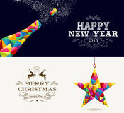 Happy New Year and Merry Christmas holidays. Happy New Year champagne splash and Merry Christmas shooting star in hipster triangle shapes. Useful holiday banners royalty free illustration