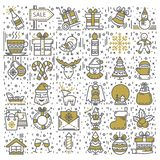 Happy New Year and Merry Christmas icon set vector illustration