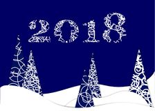 Happy new year, 2018, Merry Christmas  illustration. Stock Photo