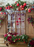 Happy New Year and Merry Christmas interior scene with frost win Royalty Free Stock Images