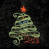 Happy New Year and Merry Christmas large postcard with ribbon tree and calligraphic text. Vector illustration stock illustration
