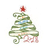 Happy New Year and Merry Christmas large postcard with ribbon tree and calligraphic text. Vector illustration vector illustration